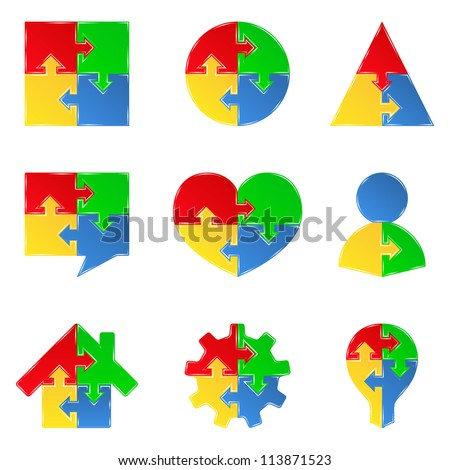 Set of puzzle objects with arrows, design elements for your logo, vector eps10 illustration