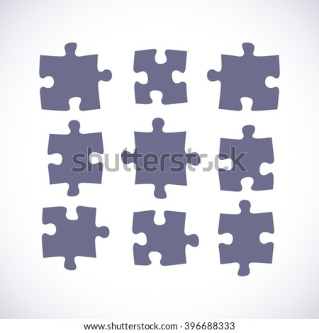 Set of puzzle pieces in a flat design, vector illustration