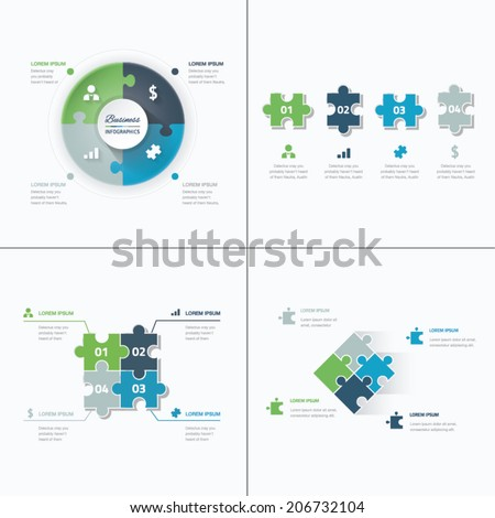 Set of puzzle pieces jigsaw business infographics concept vector - stock vector