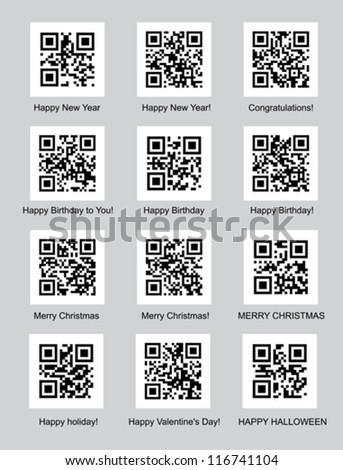 set of QR codes with congratulations vector illustration - stock vector