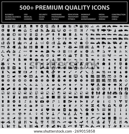 Set of 500 + Quality Icons [ Business, Global Business, Marketing, CEO, Medical, Cooking, Security, Gears, Food, Hardware, Photography, Science, Education, Transport, Fitness, Workout, Cinema... ] - stock vector