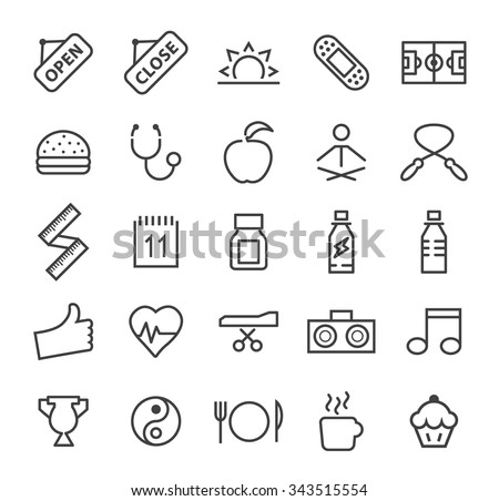 Set of Quality Isolated Universal Standard Minimal Simple Fitness Black Thin Line Icons on White Background.