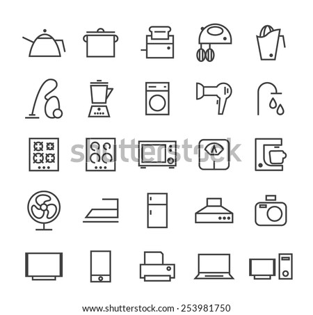 Set of Quality Isolated Universal Standard Minimal Simple Home Appliances Black Thin Line Icons on White Background. - stock vector
