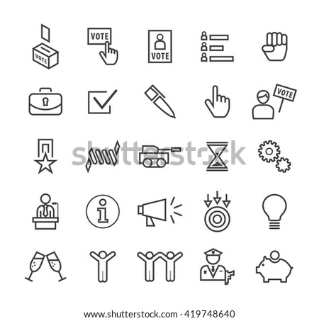 Set of Quality Isolated Universal Standard Minimal Simple Politics Black Thin Line Icons on White Background. - stock vector