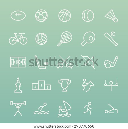 Set of Quality Isolated Universal Standard Minimal Simple Sport White Thin Line Icons on Color Background. - stock vector