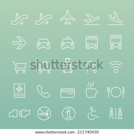 Set of Quality Universal Standard Minimal Simple Airport White Thin Line Icons on Color Background. - stock vector