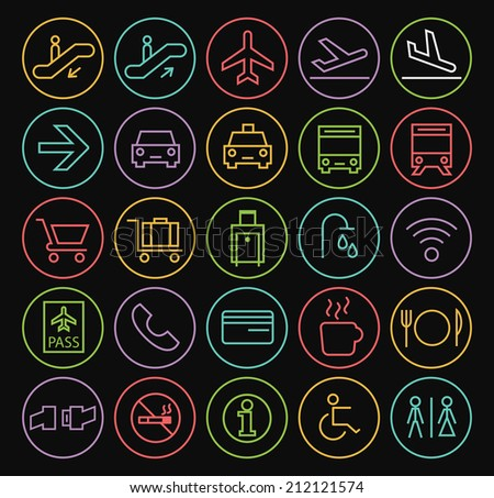 Set of Quality Universal Standard Minimal Simple Colored Neon Airport Thin Line Icons on Circular Buttons on Black Background. - stock vector