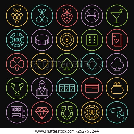 Set of Quality Universal Standard Minimal Simple Colored Neon Casino Thin Line Icons on Circular Buttons on Black Background. - stock vector
