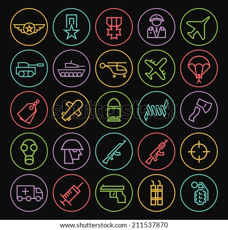 Set of Quality Universal Standard Minimal Simple Colored Neon War Thin Line Icons on Circular Buttons on Black Background. - stock vector