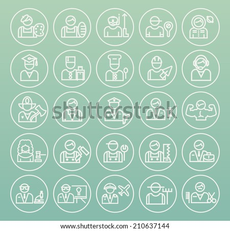 Set of Quality Universal Standard Minimal Simple Profession White Thin Line Icons on Circular Buttons on Color Background. - stock vector