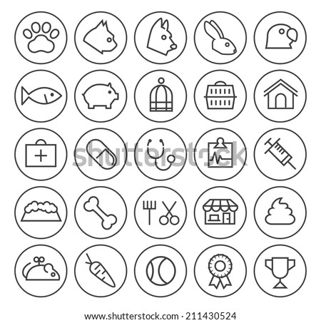 Set of Quality Universal Standard Minimal Simple Veterinary Black Thin Line Icons on Circular Buttons on White Background. - stock vector