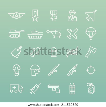 Set of Quality Universal Standard Minimal Simple War White Thin Line Icons on Color Background. - stock vector