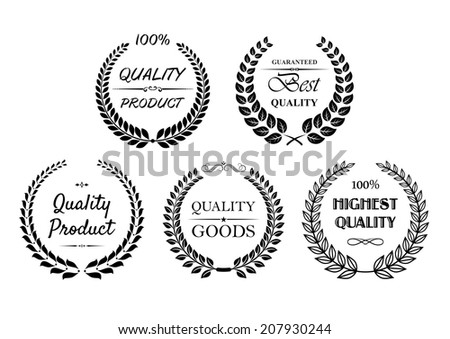 Set of quality wreaths in black and white for retail industry with Quality product, best quality, highest quality logo and quality goods - stock vector
