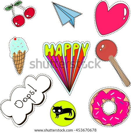 set of quirky cartoon patch badges or fashion pin badges - stock vector
