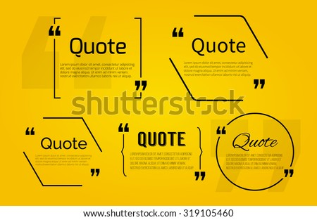 Set of Quote blanks with text bubble with Commas. Vector template for note,message, comment. Dialog box. - stock vector