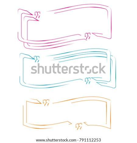 Set Of Quote Box Bubble Speech Template Colorful Illustration Outline Abstract Element