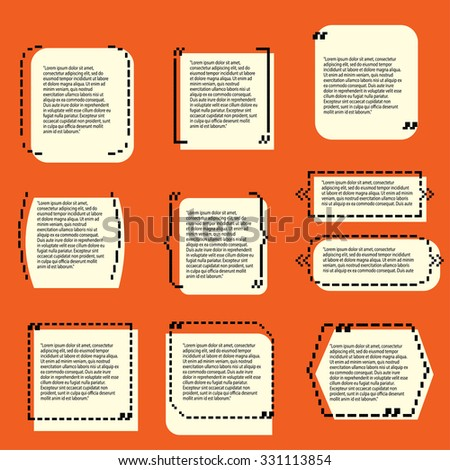 Set of Quote templates. For business, information, text. Print design. Quote form. Vector illustration. Pixel art. Old school computer graphic style. - stock vector