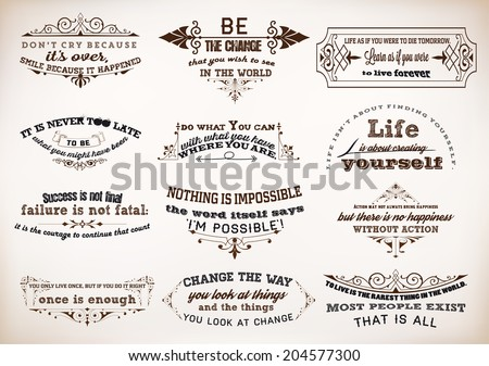 Set of Quotes Posters, Vector Design. Motivational Quotes for Inspirational Art. - stock vector