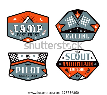 Set of race and camping patch. Graphic design for t-shirt. Color print on white background