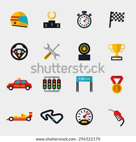 Set of race car, race track and racing flag modern flat icons. Stopwatch and speedometer,  helmet and cup, flag and speedway. Vector illustration - stock vector