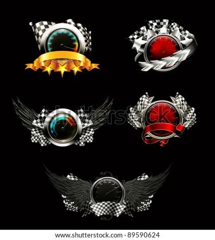 Set of racing emblems, on black - stock vector