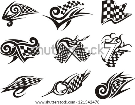 Set of racing tattoos with checkered flags. Black and white vector illustrations.
