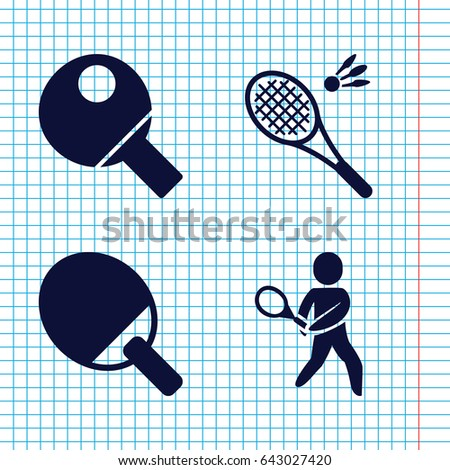 Set of 4 racket filled icons such as tennis playing, table tennis, badminton
