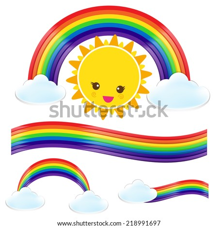 Set of rainbow cloud and sun vector illustration, isolated on the white background