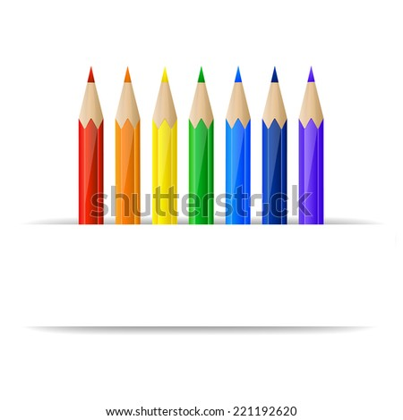 Set of rainbow pencils and blank paper banner - stock vector