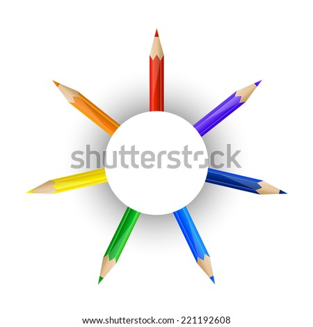 Set of rainbow pencils and round paper banner - stock vector