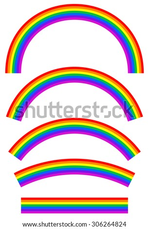 Set of rainbows with different level of arcing - stock vector