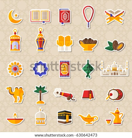 Set of Ramadan Kareem Icons Stickers. Vector Illustration. Quran Book, Traditional Lanterns, Crescent with Star, Mosque and Rosary, Kaaba, Holiday Food, Drum and Gun