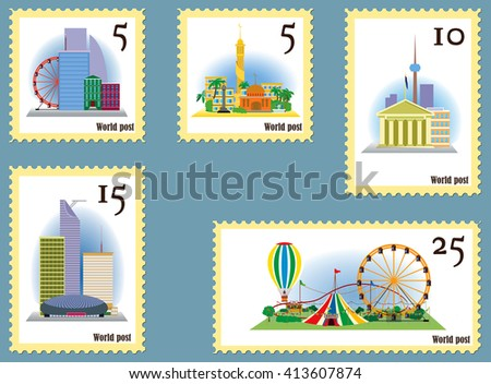 Set of rare stamps for collectors / Set of rare postage stamps with images of sights of the world for collection - stock vector