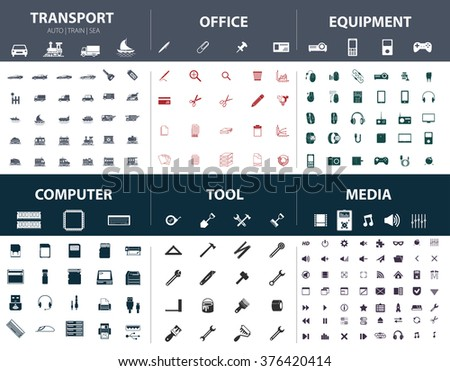 Set of ready-made simple vector icons on various topics: transport, office, equipment, computer, tool, media