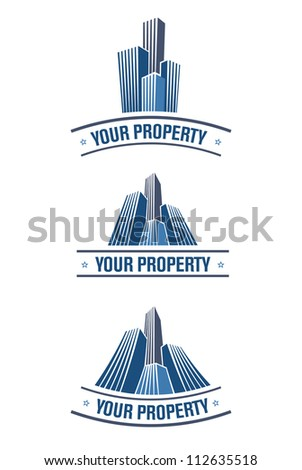 Set of real estate symbols. Easy to edit. - stock vector
