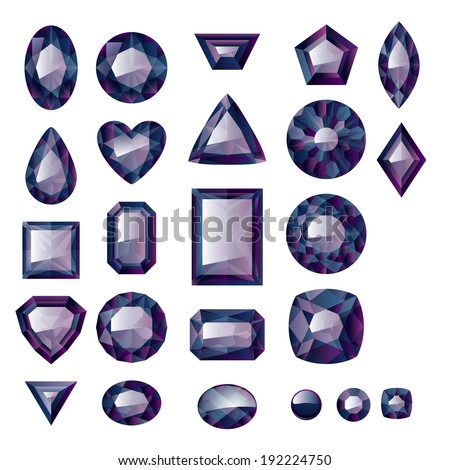 Set of realistic black  jewels. Colorful gemstones. Black diamonds isolated on white background. - stock vector