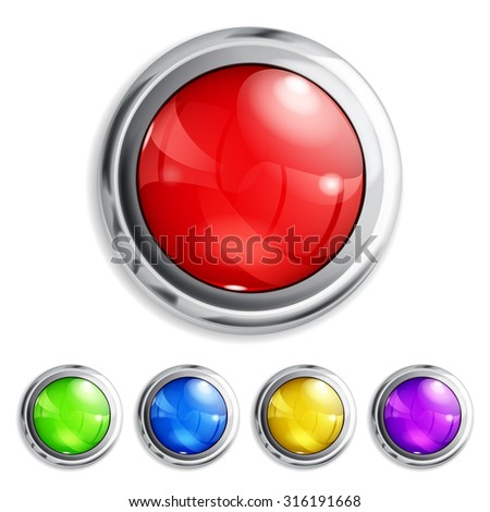 Set of realistic colored buttons with metallic borders - stock vector