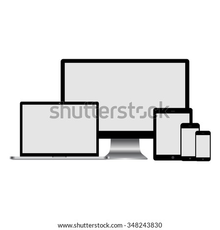 Set of realistic computer monitor, laptop, tablet and mobile phone.  Electronic gadgets isolated on white background. - stock vector