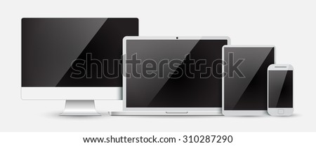 Set of realistic computer monitor, laptop, tablet and mobile phone with empty  screen. Various modern electronic gadget isolated on white background. Vector illustration EPS10 - stock vector