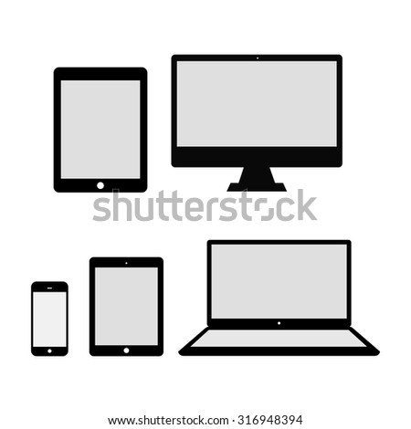 Set of realistic computer monitor, laptop, tablets and mobile phone. Electronic gadgets isolated - stock vector