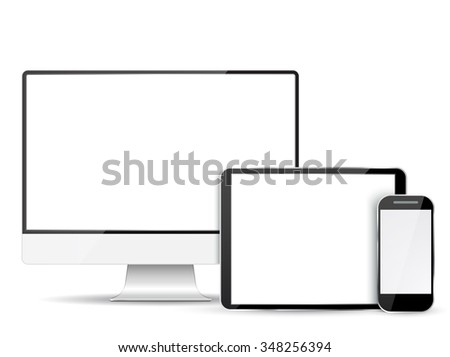 Set of realistic computer monitor, tablet and mobile phone with empty  screen.