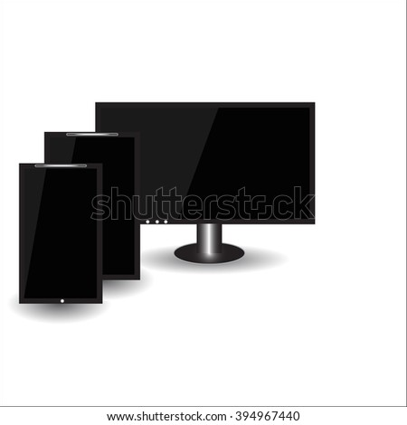 Set of realistic computer monitor,  tablet and mobile phone with empty white screen. Various modern electronic gadget isolated on white background. Vector illustration EPS10