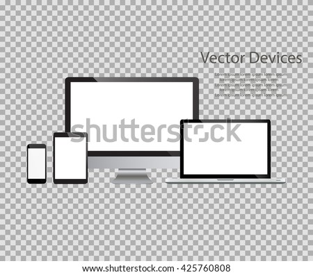 Set of realistic computer monitors, laptops, tablets and mobile phones. Electronic gadgets, isolated, on isolated background - stock vector