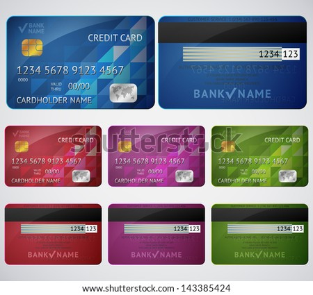 Set of realistic credit card two sides isolated on white background. Vector illustration for your business design. Detailed glossy cards. - stock vector