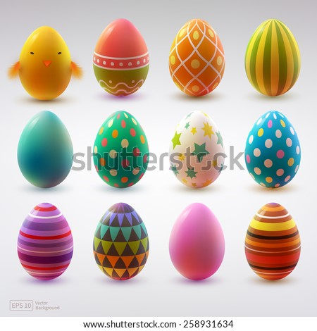 Set of realistic eggs on white background. Easter collection. Vector illustration. - stock vector