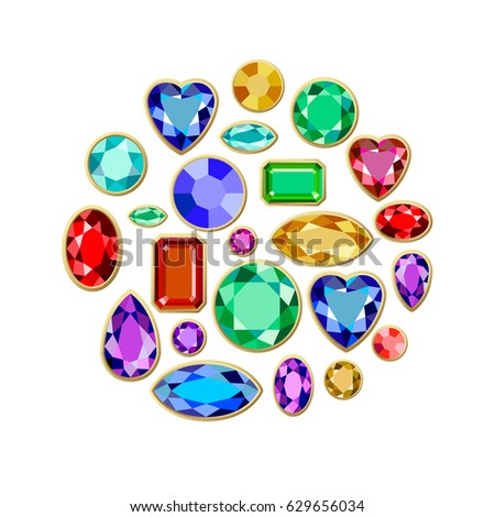 Set of realistic jewels. Colorful gemstones. Vector gemstone Illustration