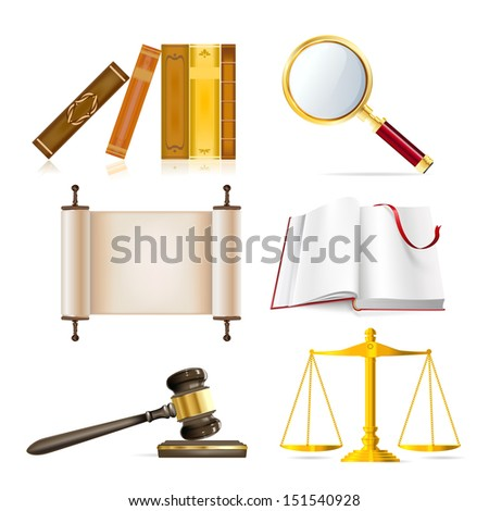 set of realistic justice objects - stock vector