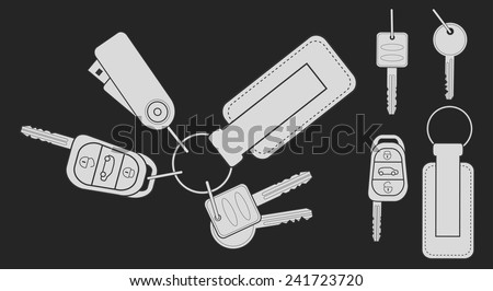 Set of realistic keys icons: remote car starter, usb flash drive, leather trinket, group of house keys.Chalk vector clip art illustration isolated on blackboard - stock vector