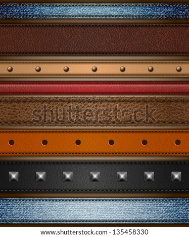 Set of realistic leather, shammy and denim stripes - eps10 - stock vector
