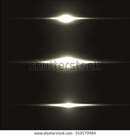 Set of realistic light glare, highlight. Collection of beautiful bright lens flares of different colors. Lighting effects of flash. Vector illustration. - stock vector
